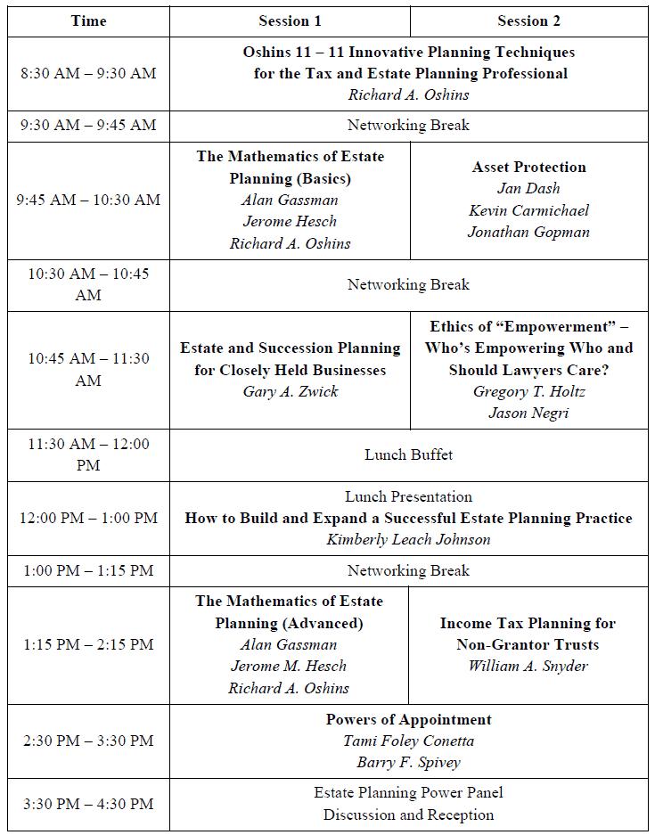Ave Maria Schedule UPDATED