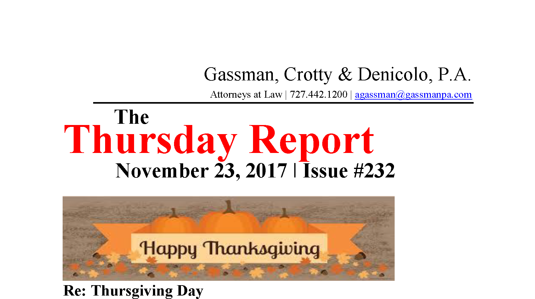 Thursday reports archives gassman crotty denicolo pa november 23 2017 re thursgiving day falaconquin